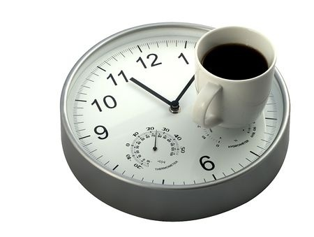 Klok met kopje koffie - bestrijd slechte concentratie met pauze
