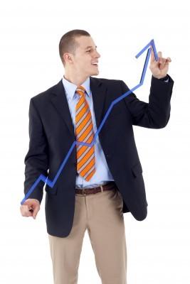 man die pijl omhoog tekent en laat zien dat productiviteit toeneemt